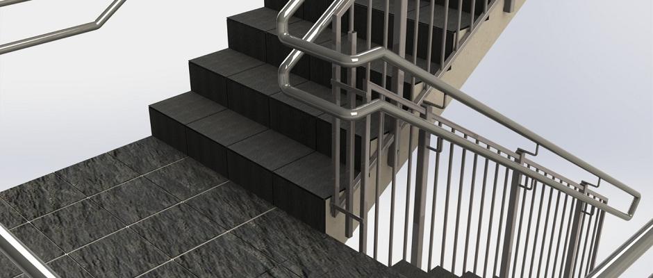 Sinus Classic - trapperekkverk i lakkert stål, rustfrie håndløpere